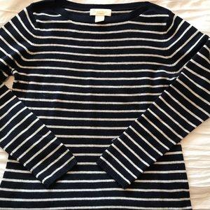 Peck & Peck Navy White Stripe cashmere sweater L